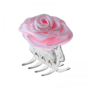 Big hair clip with pink rose / 30 pcs.