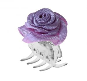 Big hair clip with violet rose / 30 pcs.