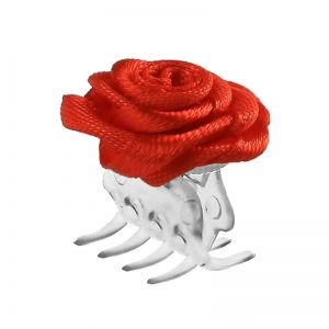 Big hair clip with red rose / 30 pcs.